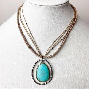 Silpada Silver Pendant Turquoise Necklace  N1804